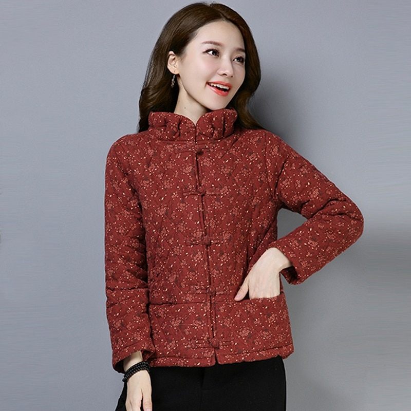 China Cheongsam Tops para mujer invierno Parkas abrigos Stand floral con botones abrigos calientes Retro Chaqueta estilo Oriental ropa FF2490