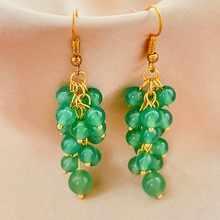 Cute Green Jade Drop Dangle Earrings Jewelry Women Girls Multi Layer Handmade Korean Stainless Steel