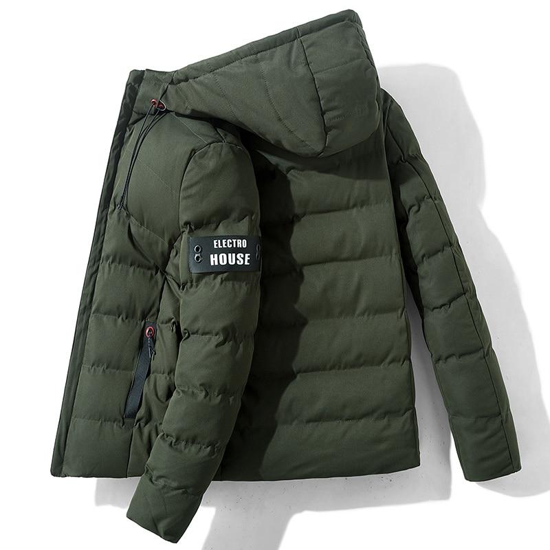 High Quality Men Winter Hooded Parka Jacket Luxury Overcoat New Menswear Fashion Casual Short Parka