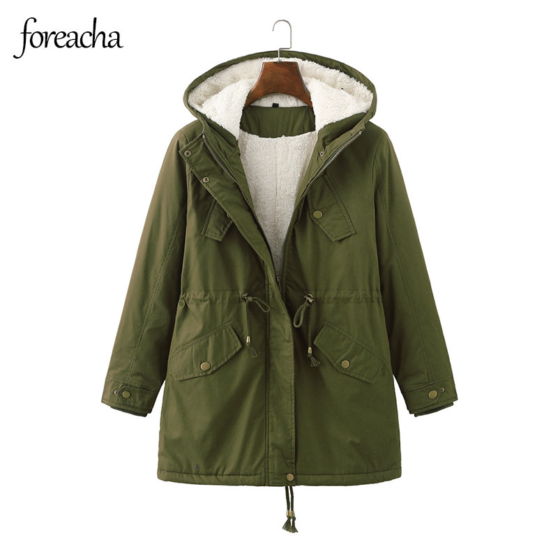 foreach Cotton Padded Jacket Army Green Women Solid Hooded Warm Winter Thicken cotton clothes Plus S