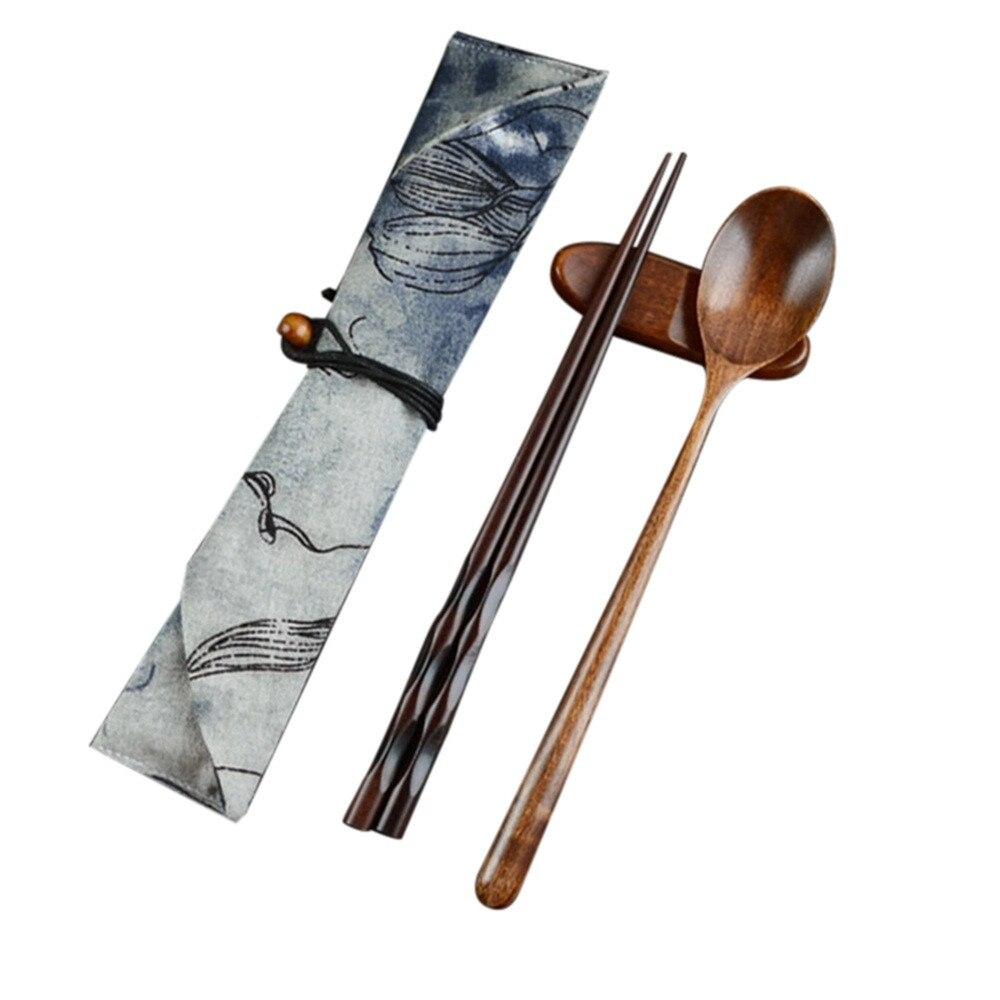 Vajilla portátil, juegos de cubiertos de madera con palillos útiles, cuchara, vajilla de viaje, traje con bolsa de tela, palillos japoneses