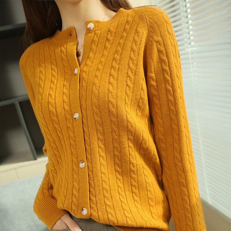 Women Jackets Hot Sale 2021 New O-Neck Cardigans 100% Australian Wool Long sleeve Knitwears ladies Twisted sweater enlarge