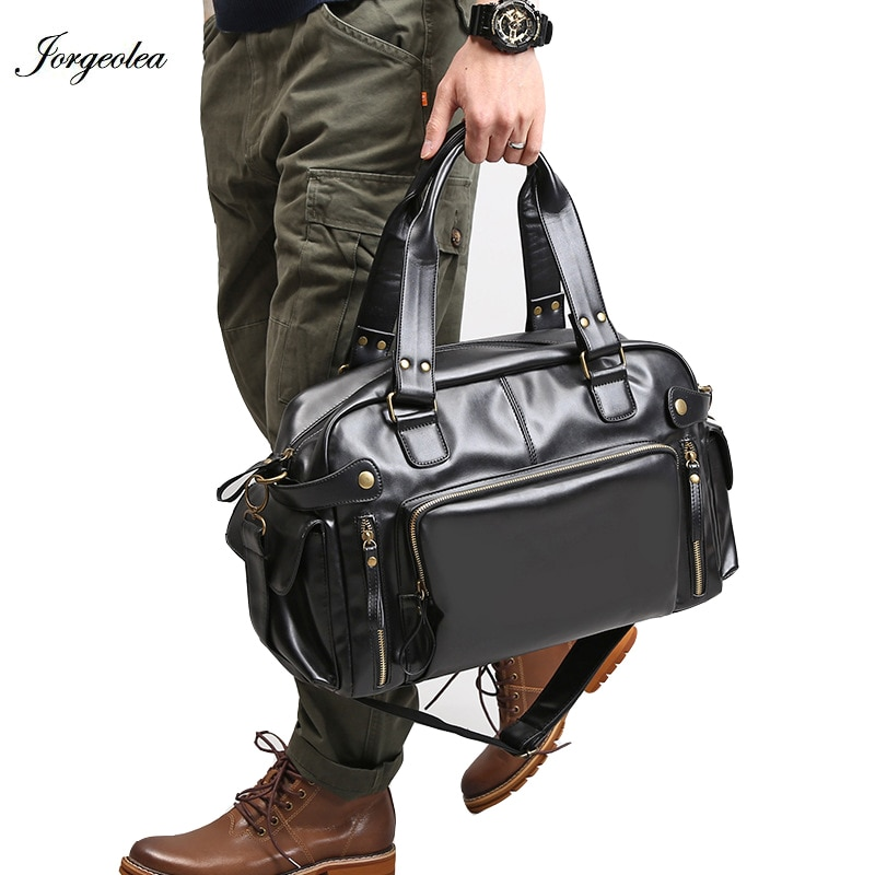 Joegeolea Men Classic PU Travel Bags Handbags Business Leather Shoulder Bag Satchel Male Briefcase L