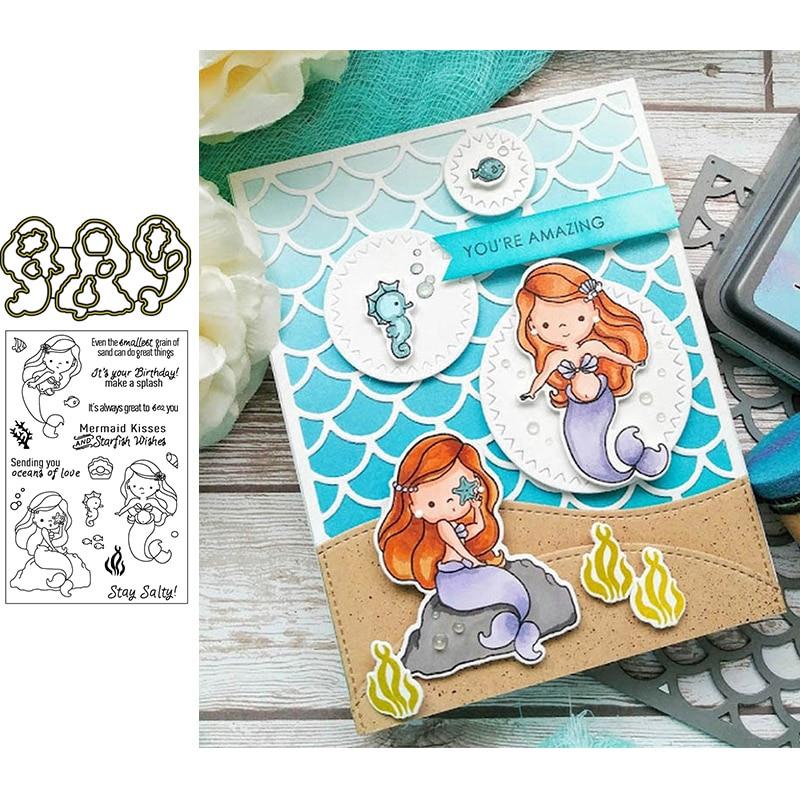 Mermaid clear carimbos & dados de corte de metal para scrapbooking e cartão de fazer artesanato de papel 2019 novos cortes
