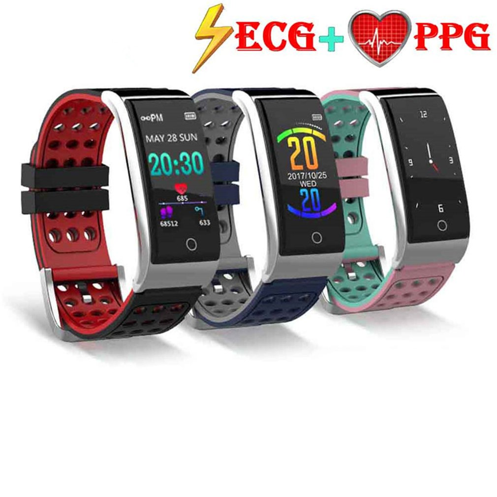 Carlota  ECG EKG Blood Pressure Monitor Fitness Tracker 0.96 inch Color Screen UI IP67 Waterproof Long Standby Smart Watch