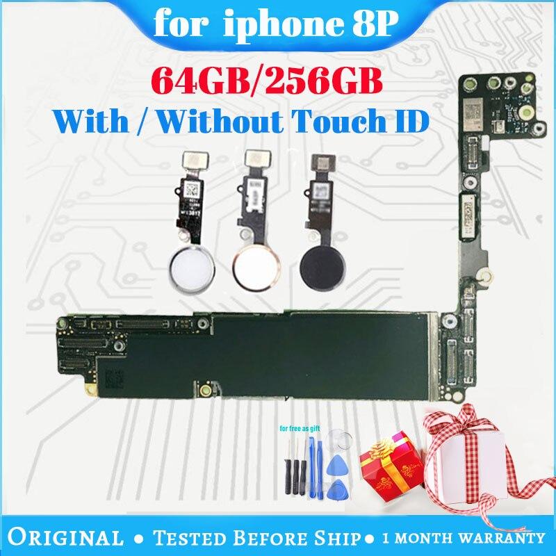 Placa base para iPhone 8 Plus, 64GB, 256GB, gratuito con iCloud, placa base Original desbloqueada para iphone 8 Plus con/sin ID táctil