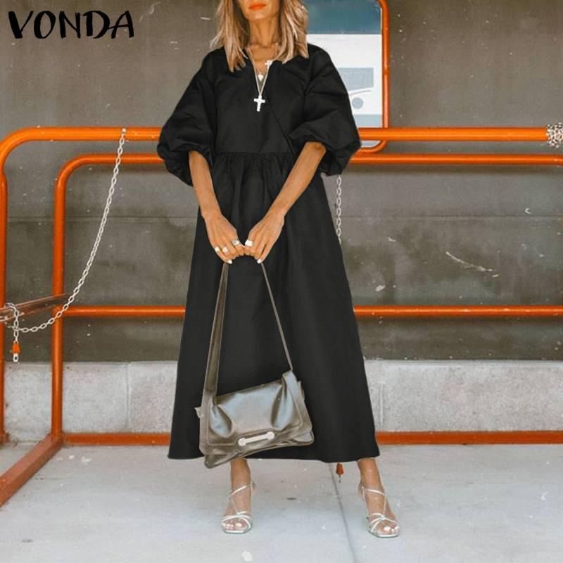 VONDA-vestido Retro de talla grande, vestido bohemio informal de media manga con cuello de pico y de Color liso para playa y fiesta de verano 2020
