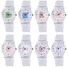 Student Transparent Quartz Watch Silicone Strap Cute Cartoon Animal Round Dial Plastic Wristwatches