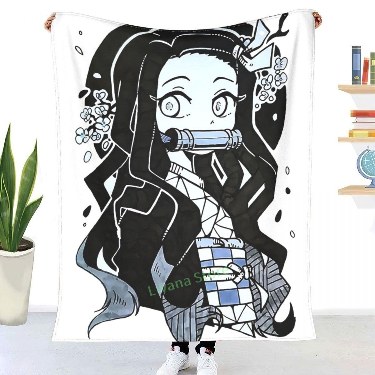 Nezuko-الحبر الرسم رمي بطانية ثلاثية الأبعاد المطبوعة أريكة غرفة نوم بطانية الزخرفية الأطفال الكبار هدية الكريسماس
