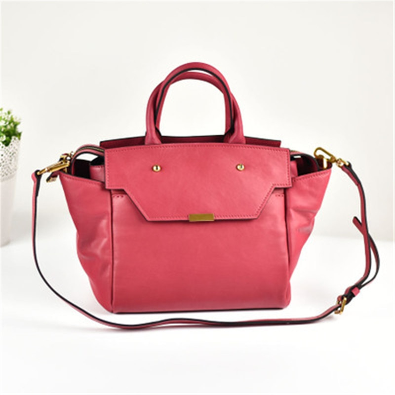 The new first layer cowhide portable female bag big bag simple and versatile genuine leather wings bag shoulder messenger bag