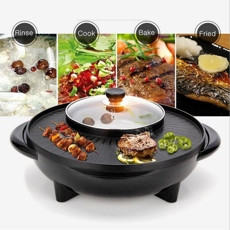 1600w electric shabu roasted pot multifunctional electric pan grill bbq grill raclette grill electric hotpot with grill pan Multifunctional Electric BBQ Grill 1700W Non Stick Plate Barbecue Pan Hot Pot Dinner Party Picnic Skillet Maker for 2-8 People
