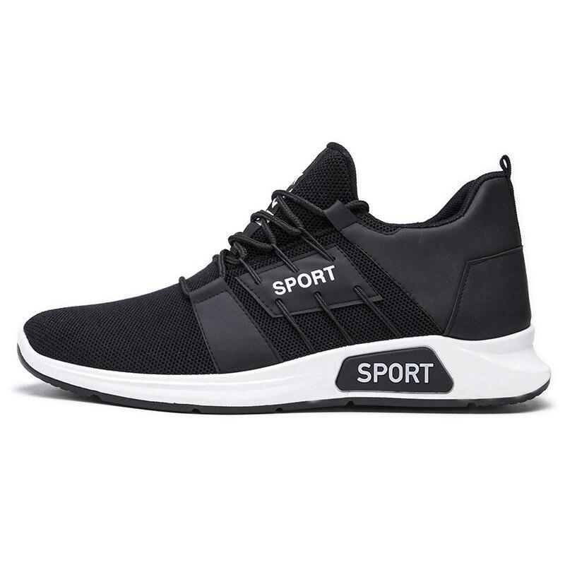 حذاء رياضي أسود للرجال ، حذاء رياضي شبكي مسامي ، ناعم وخفيف الوزن ، 2019