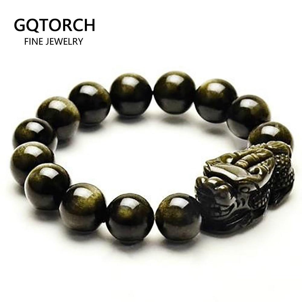 Natural obsidian grânulos pulseira de ouro cor energia pedra mão corda pixiu sorte bravo tropas feminino jóias