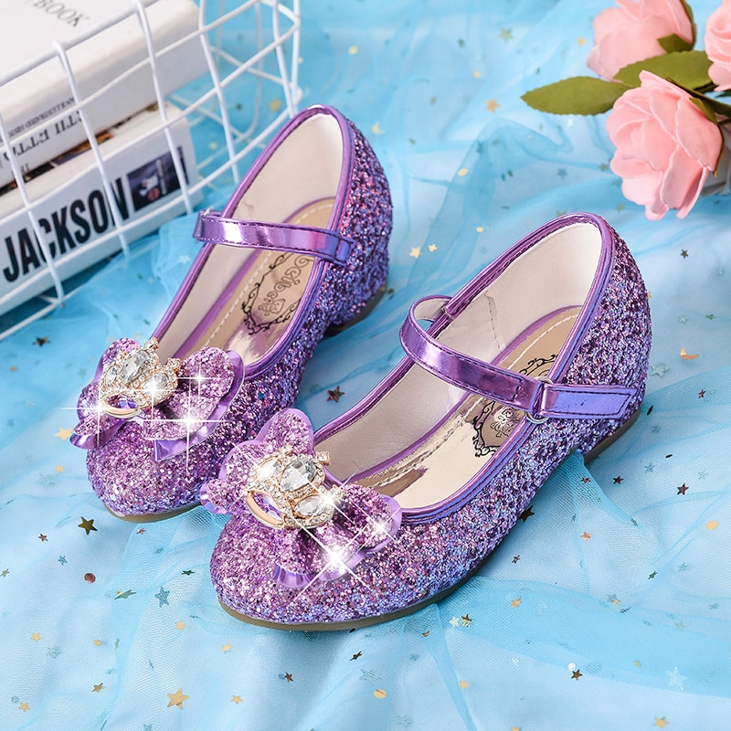 Girl's princess shoes children's high heels little girl's crystal shoes shiny diamond crown children's shoes single shoes