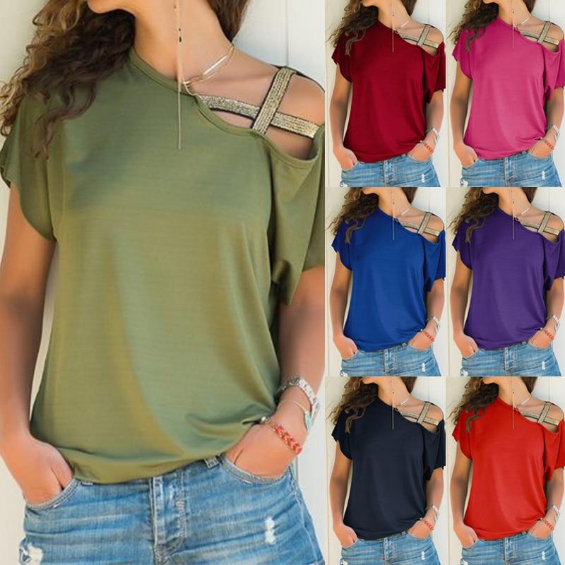 Camiseta de verano para mujer, camiseta de manga corta con hombros descubiertos, camiseta lisa con un solo hombro