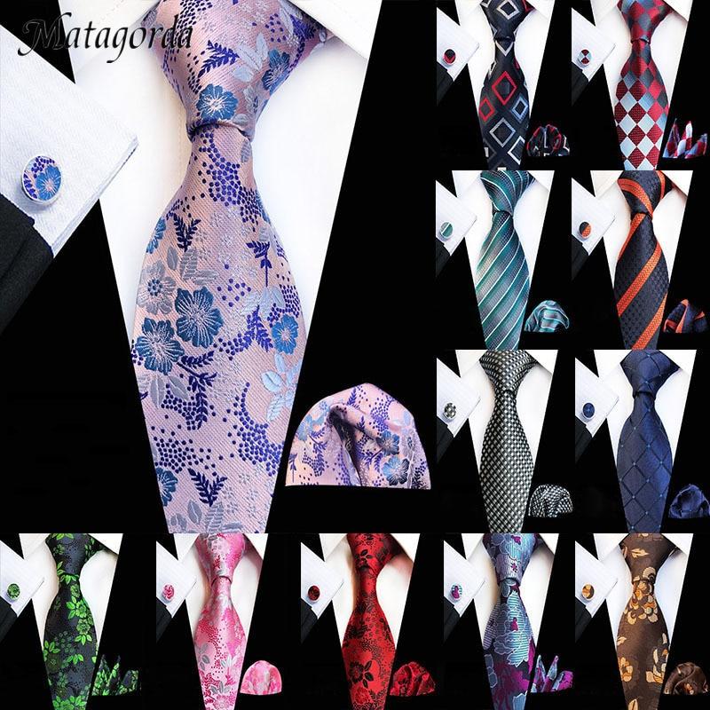 Tie+Hanky+Cufflinks Set for Men Fashion Men Necktie Pocket Square Handkerchief Three Suits 8CM 100%Silk Cravat Wedding Party Tie недорого