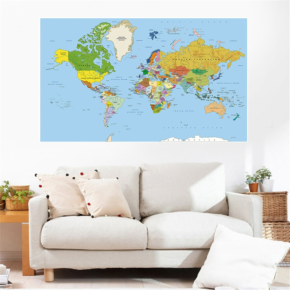 magic world map wallpaper wall stickers for kids rooms bedroom sticker painting poster home decoration accessories 150x100cm The World Map Non-woven Canvas Painting Wall Art Poster Modern Decorative Picture Wall Sticker Card Home Decoration