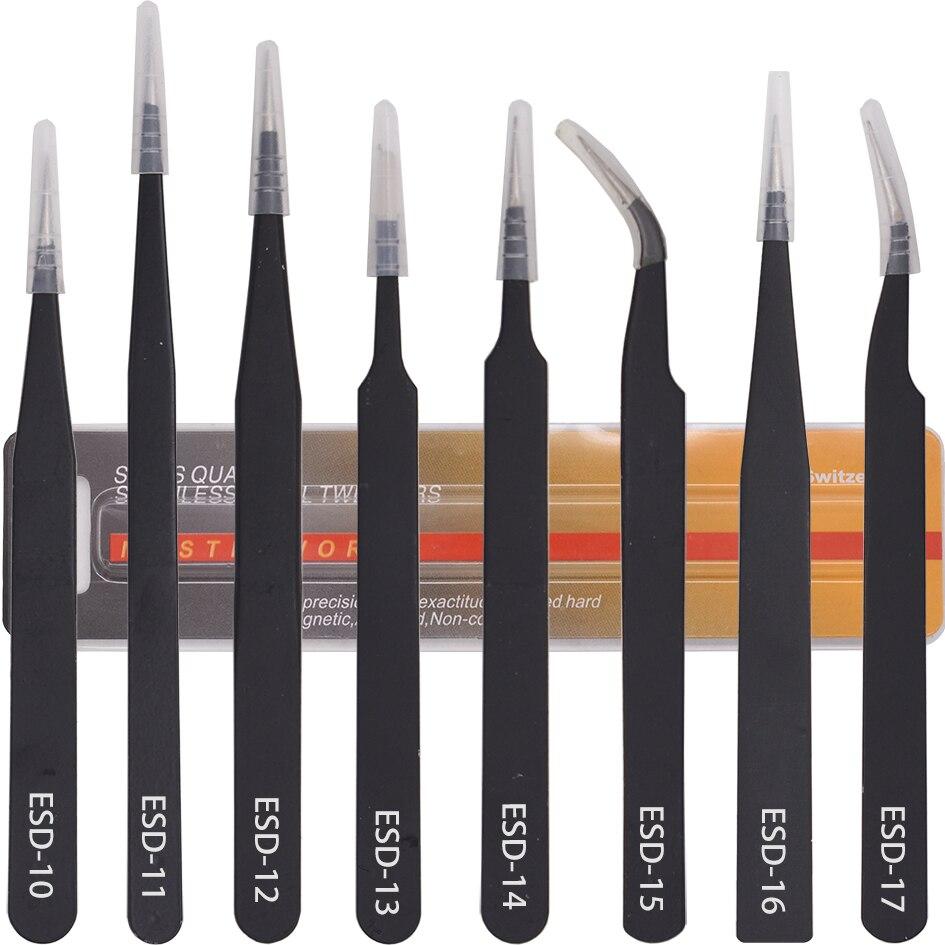 Paquete amarillo negro VETUS pinzas HRC40 antiestático Acero inoxidable pinza de acero ESD-10 11 12 13 14 15 16 17 para reparar 120 unids/lote