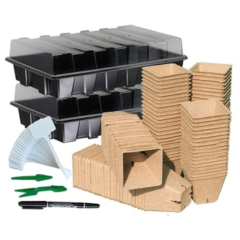 Seed Starter Kit With 120 Peat Pots, Seed Starter Tray, Plastic Growth Tray For Outdoor Or Indoor Herb Garden