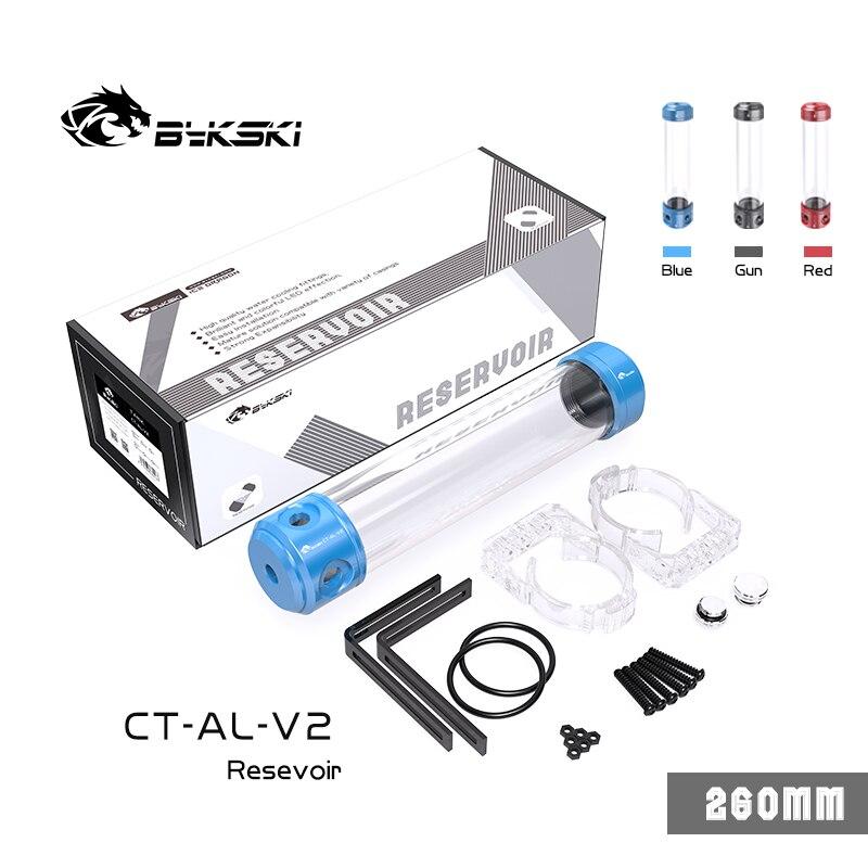 Bykski خزان أسطواني PC تبريد المياه ، OD56mm الألومنيوم خزان المياه ، متعددة الألوان 150/200/260 مللي متر ، CT-AL-V2