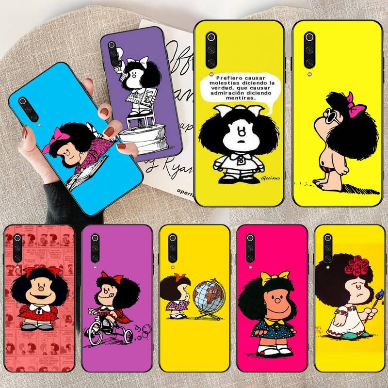 HPCHCJHM argentine Quino Mafalda fille nouvellement arrivée coque de téléphone noir pour Redmi Note 8 8A 7 6 6A 5 5A 4 4X 4A Go Pro Plus Prime