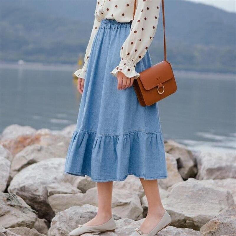 2020 Large Size 7XL Women Denims Long Skirts Elastic Waist Pleated Maxi Skirts Students Beach Vintage Summer Sweet Ruffles Skirt