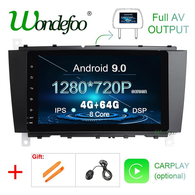 "8 ""IPS DSP Android 9,0 4G 64G GPS multimedia reproductor para Mercedes-Benz Clase C W203 C200 C230 C320 CLK200 CLK350 CLK500 Radio"