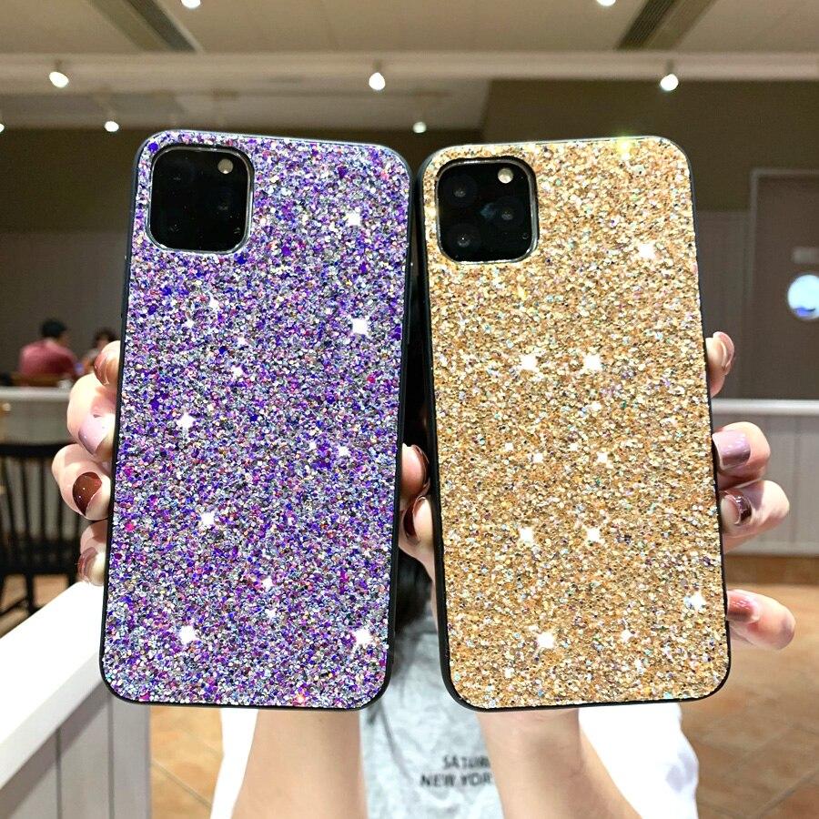 Carcasa de lentejuelas brillantes y brillantes para Samsung Galaxy A20, A20E, A30, A40, A50, S9, S10, S10E, note 10 Plus, PC, carcasa de teléfono móvil rígida
