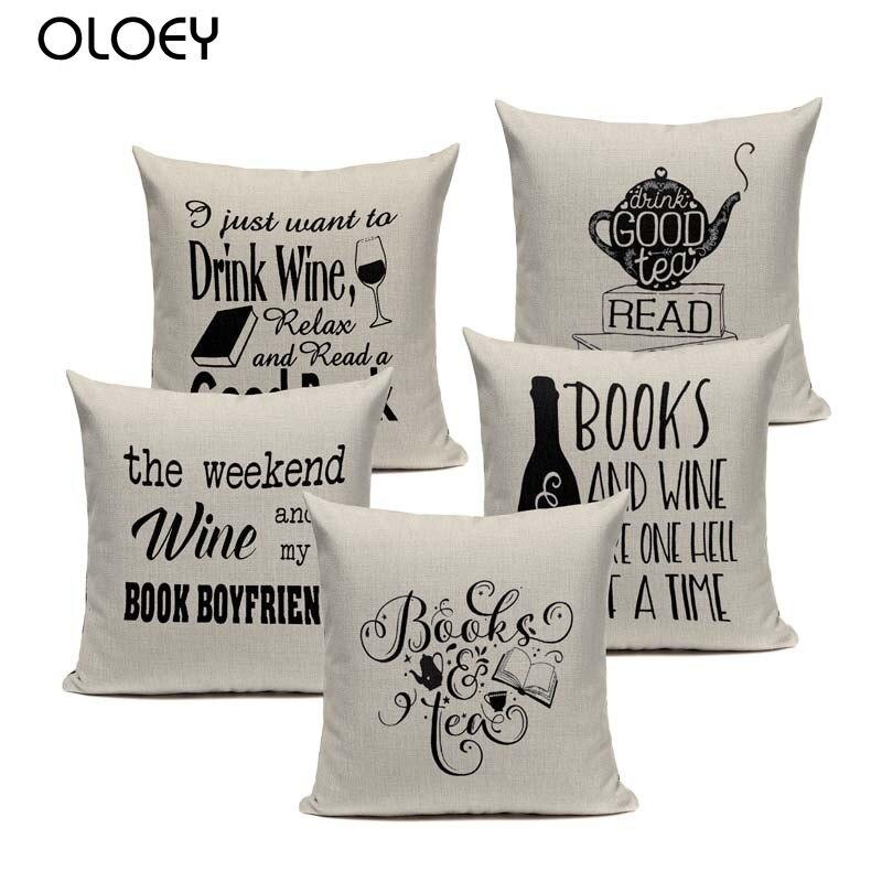 Funda de cojín de lino y algodón con diseño de libro cuadrado de té y café para el hogar