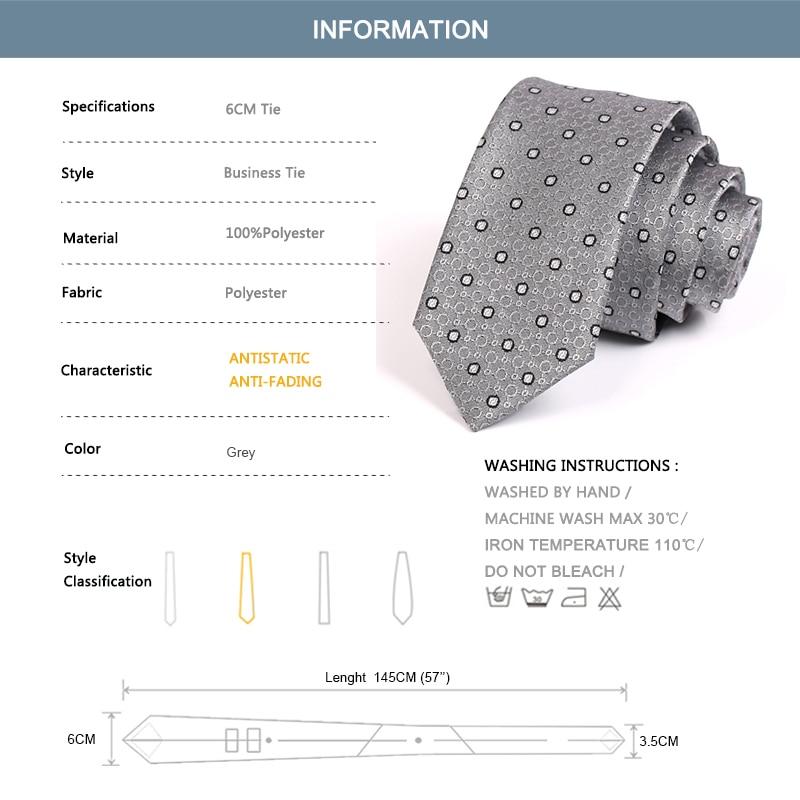 Gentleman Business Ties New Grey Dot 6CM Tie For Men Business Suit Work Neck Tie High Quality Fashion Formal Necktie Gift Box