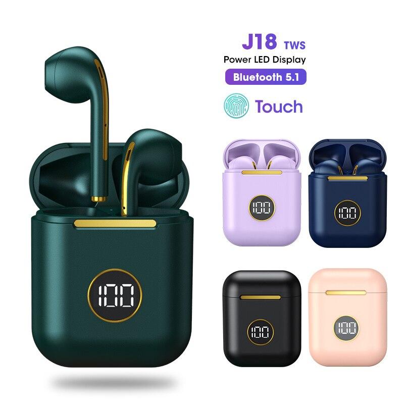 جديد J18 TWS صحيح سماعة لاسلكية تعمل بالبلوتوث سماعات سماعة الألعاب الرياضة سماعات أذن للهواتف الذكية أندرويد iOS التحكم باللمس سماعات
