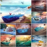 5d diy diamond painting beach drifting bottle landscape full drill embroidery sunset diamond mosaic cross stitch kit home decor