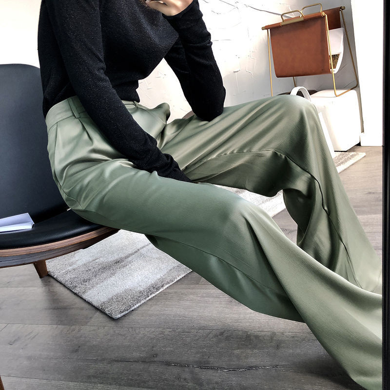 women summer spring  autumn acetic acid high-waisted broad-legged pants thin satin straight  casual trousers wide Korean