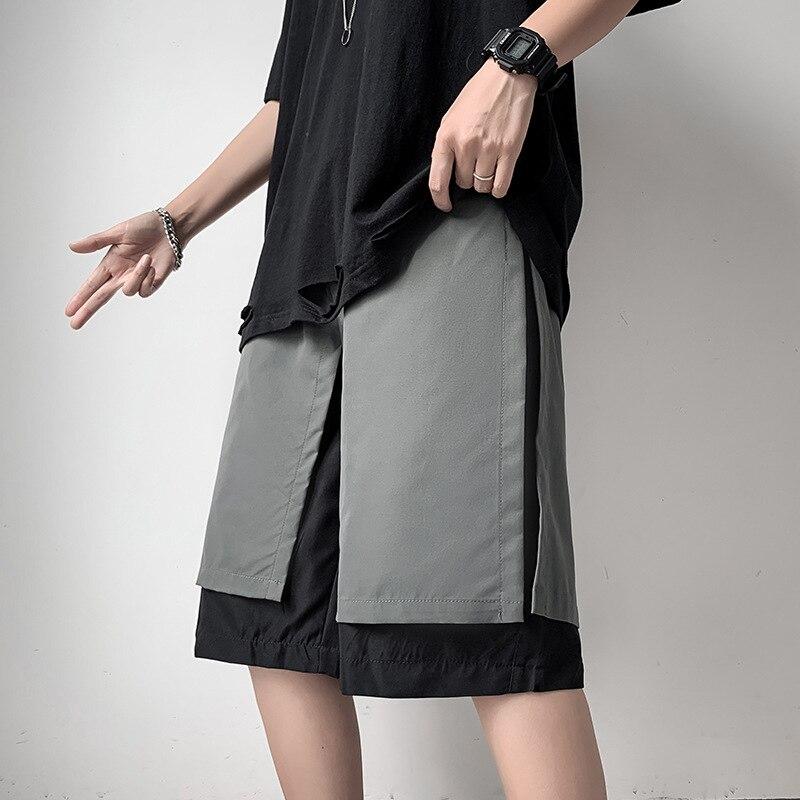 Молодежные комбинезоны с прострочкой шорты мужские свободные прямые брюки-оверсайз в Корейском стиле в гонконгском и японском стиле пятик...