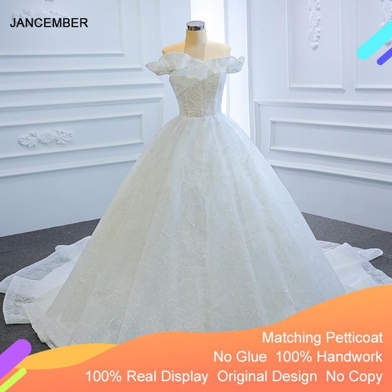 J67170 جانك فستان الزفاف الأبيض 2020 بلا حمالات كشكش بلا أكمام مطرز فيستدو برانكو فيستيدو دي نويفا 2020 ملابس خارجية