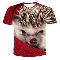 springsummer mens hedgehog t shirt 3d printing shirt animal print t shirt cute pattern top menwomen cute large size t shirt