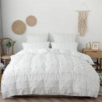 solid color bedding sets modern minimalist single double bed plush flowers quilt cover pillowcase 2pcs white grey duvet cover