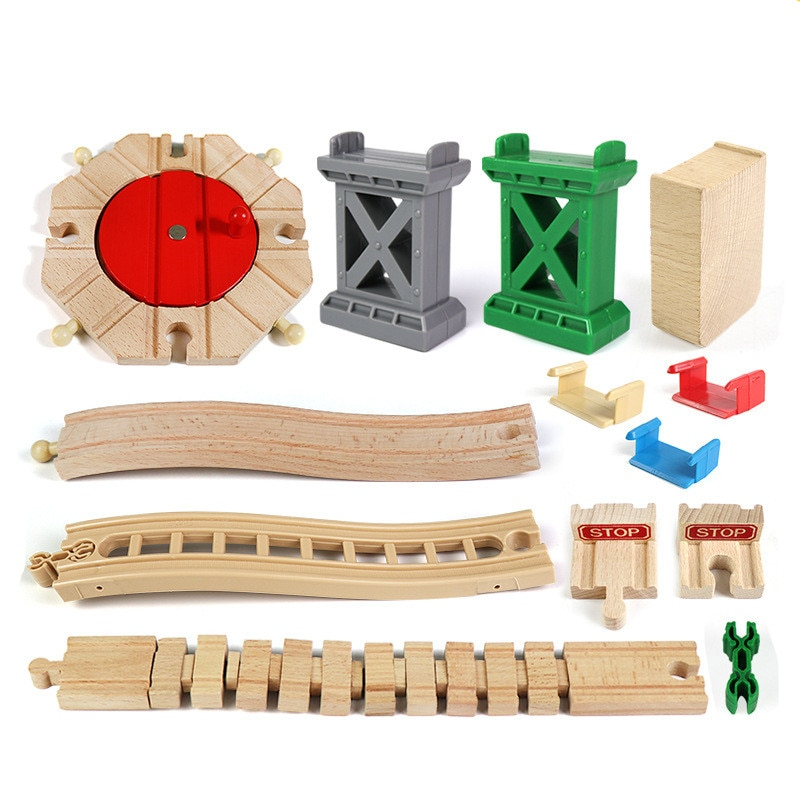 Diy Beech Wooden Railway Track Toy Train Turntable Bridge Pier Accessories Track Educational New Toys for Children Kids Gift