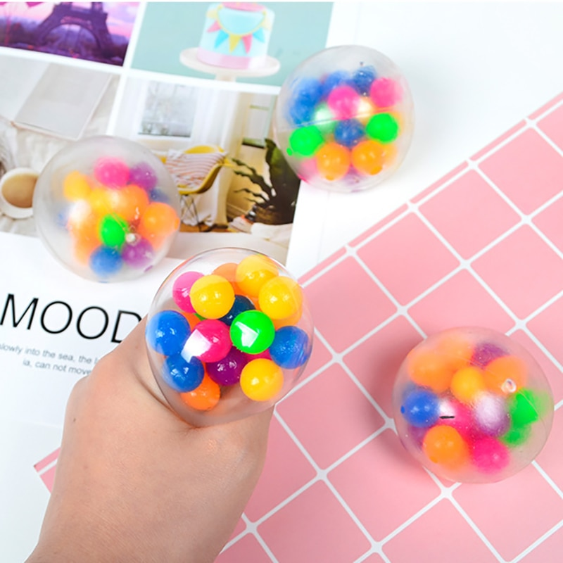 Fun Soft Squeeze Ball Toy Colorful Beads Relieve Stress Hand Exercise Tool For Kids Adults Antistress Creativity Sensory Toy enlarge