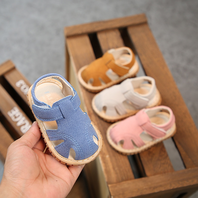 2021 summer new baby sandals 0-1-2 year old boys and girls toddler shoes soft sole non-slip wholesale