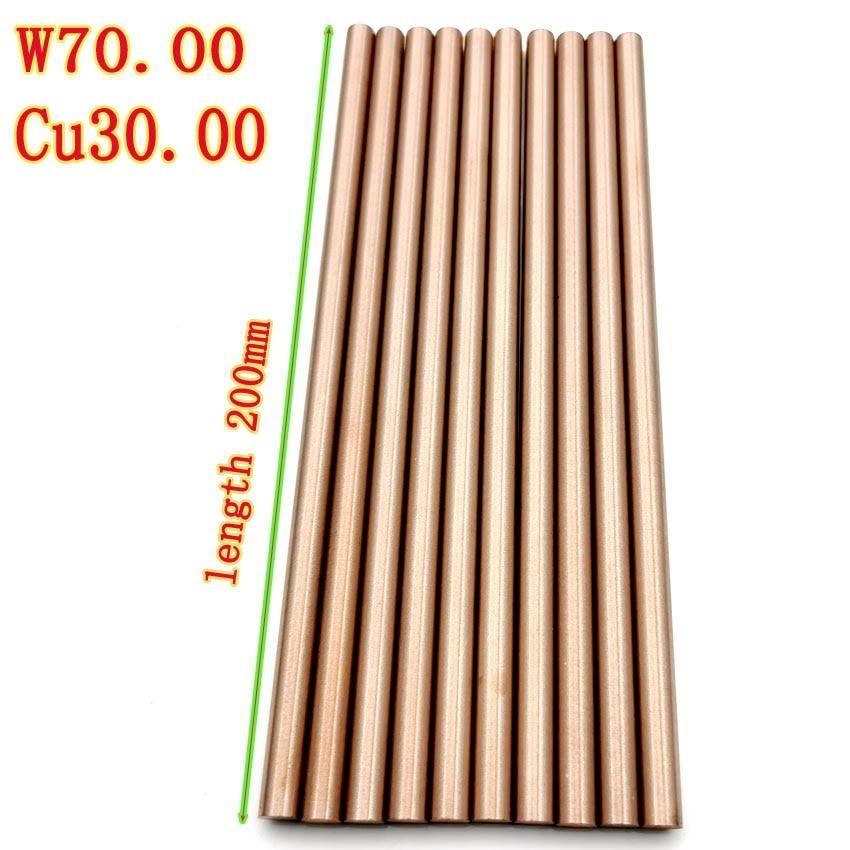 W70Cu30 Tungsten Copper Rod Electrode Copper Bar Put Electric Rod W70Cu30 Tungsten Copper Alloy Good Electric Spark Length 200mm