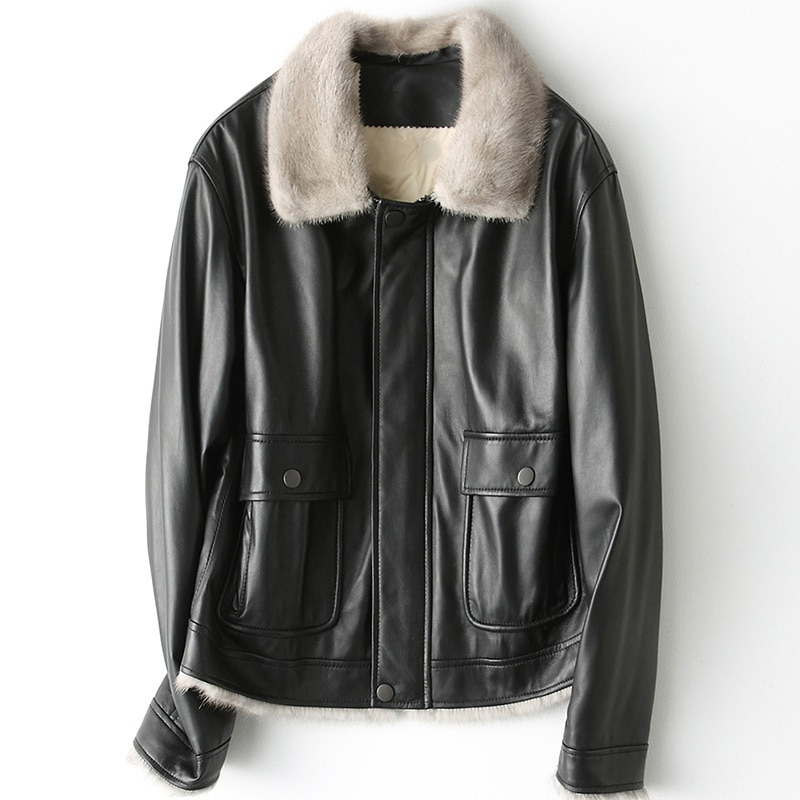 Winter Casual Thick Mink Collar High Quality Sheepskin Jacket  Real Leather Coats Women Warm Down Short Black Pockets Outwear