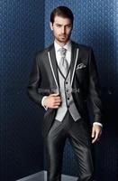 selling business hot men suits 3 piece black groom suit tuxedos for men one button jacket pantvesttie men wedding suits