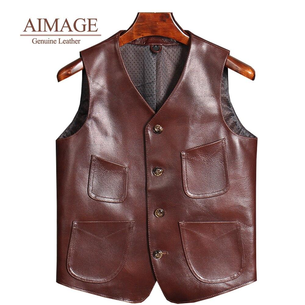 AIMAGE الرجال سترة جلد البقر 100% سترة دراجة بخارية السائق سترة جلد s موتو الجلود صدرية حجم الآسيوية اللون البني