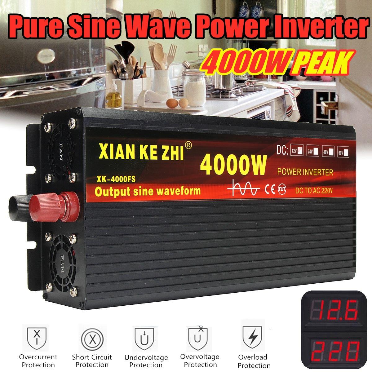 Inversor 12V 220V 2000/3000/4000W transformador de voltaje inversor de potencia de onda sinusoidal pura DC12V a AC 220V convertidor + 2 pantalla LED