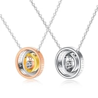 2021 trend couple chain length 46cm romantic stainless steel zircon accessories man necklace rose gold steel color neck jewelry