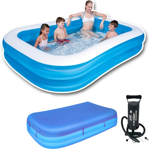 Rectangle Blue Paddling Pool Set (262 cm x 175 cm x 51 cm ) 54006