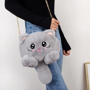2021 New Fashion Plush Bag Women Animal Cat Shoulder Bag Girls Cute Fur Mobile Phone Bag Female Purse