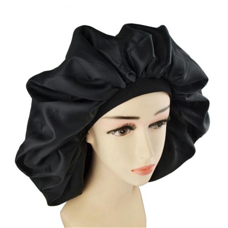 Large Women's Solid Sleeping Hat Night Sleep Cap Hair Care Bonnet Bath Cap For Women Cap Hair Beauty
