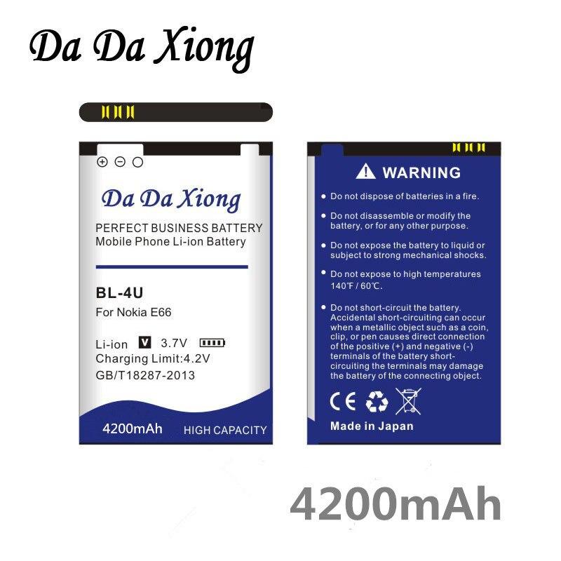 Da Da BL-4U Xiong 4200mAh Li-ion Bateria Do Telefone para Nokia E66 3120C 6212C 8900 6600S E75 5730XM 5330XM 8800SA 8800CA etc